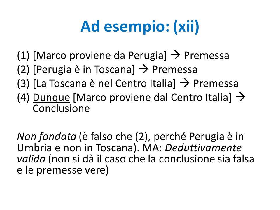 Ad esempio: (xii) [Marco proviene da Perugia]  Premessa